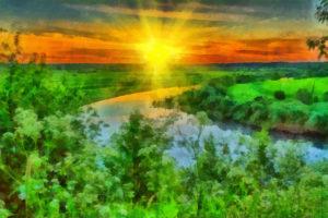 Речная долина на закате
